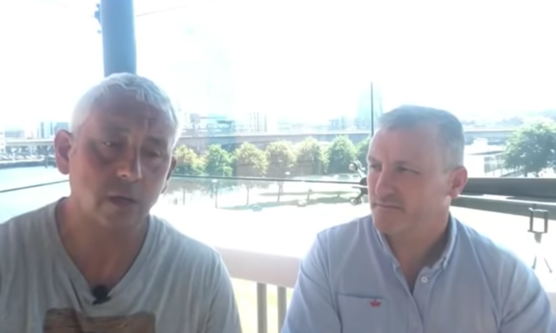 Jon Wedger with ex police whistle blower Anthony Carlin - Belfast 2-7-2018